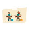 classmates sit next to each other behind desks vector image vector image