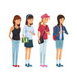 colorful set group of girl students standing vector image vector image