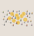 crowd people hype together crypto-currency coin vector image vector image