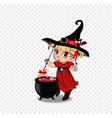 cute baby girl witch with broom and cauldron on vector image vector image