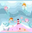 cute sweet pink and blue mermaid vector image