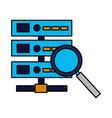 database server magnifyig glass searching vector image vector image