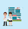 doctors and nurse standing in front of hospital vector image