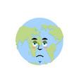earth sad emoji planet unhappy emotion isolated vector image vector image