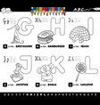 educational cartoon alphabet set coloring book vector image vector image