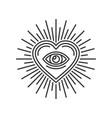 eye inside heart sign masonic icon on white vector image vector image
