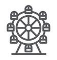 Ferris wheel line icon funfair and entertainment