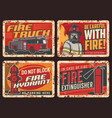 fire safety warning signs rusty metal plate vector image vector image