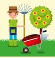 gardener boy farm work vector image vector image
