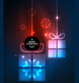 glowing gift boxes with snowflakes christmas and vector image vector image