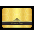 Golden member card with classic vintage pattern vector image vector image