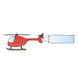 helicopter with blank flag vector image vector image