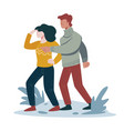 hikers searching way hiking outdoor activity vector image vector image