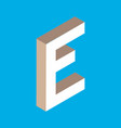 isometric letter e vector image vector image