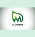 m leaf logo letter design with green leaf outline vector image vector image