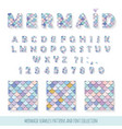 mermaid font and seamless patterns set for vector image