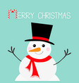 merry christmas candy cane snowman face head vector image