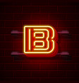 neon city font letter b signboard vector image