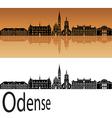 Odense skyline in orange vector image vector image