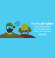 paintball fighter banner horizontal concept vector image vector image
