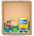 parchment with school bus 3 vector image