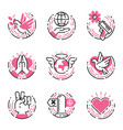 peace outline pink icons love world freedom vector image vector image