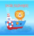 postcard cute lion cub floats on boat cartoon vector image vector image