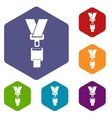 Safety belt icons set vector image vector image