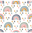 seamless pattern with barainbow and rain vector image