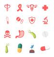 set medical icons caduceus symbol ribbon and vector image
