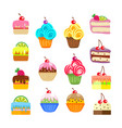 set of cakes and pastries sweet desserts vector image vector image