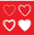 set white hand drawn scribble hearts vector image
