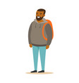 smiling bearded young black man in a grey hoodie vector image vector image