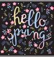 spring background with flowers and hello spring vector image vector image