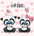 two cute pandas on a hearts background vector image vector image