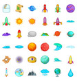 universe icons set cartoon style vector image vector image