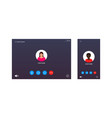 video call ui for conference screen interface vector image vector image