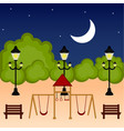 view of a playground at night vector image