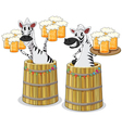 zebra with beer jar vector image vector image