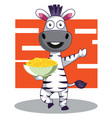 zebra with snacks on white background vector image vector image