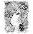 Zen Tangle portrait of a woman vector image vector image