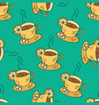 seamless pattern with cups of tea and lemon vector image