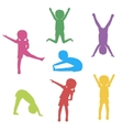 Kids Exercising Silhouette vector image
