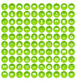 100 national flag icons set green circle vector image vector image