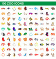 100 zoo icons set cartoon style vector image vector image