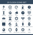 25 clock icons vector image vector image