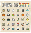 30 Colorful Doodle Icons Set 1 vector image