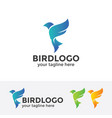 abstract blue bird logo vector image vector image