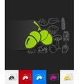 acorns paper sticker with hand drawn elements vector image