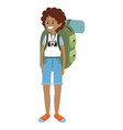 backpacker tourist woman vector image